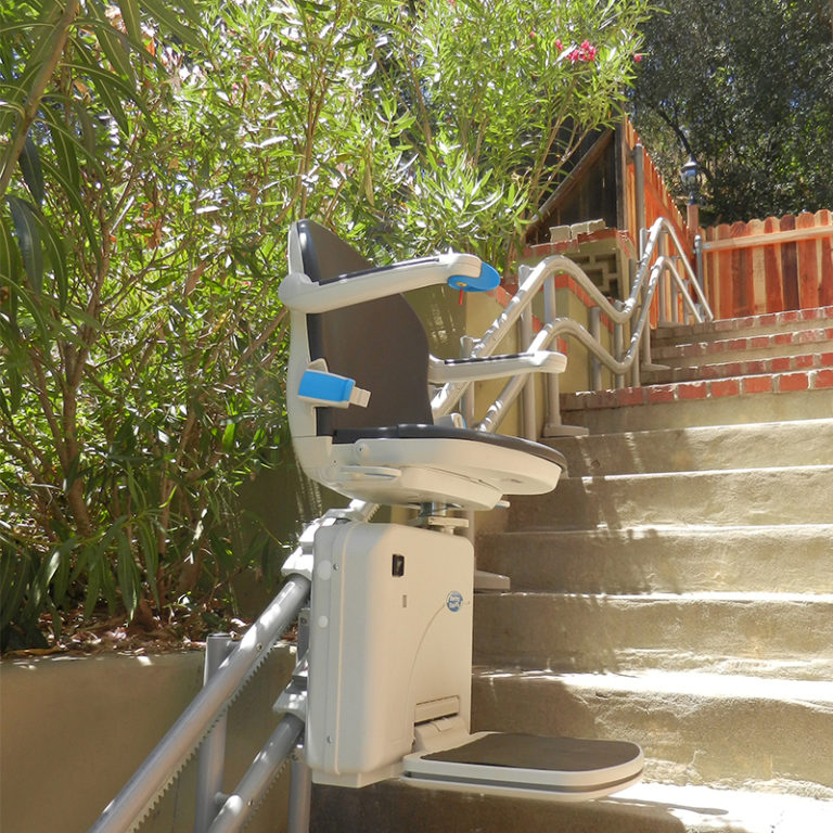 curved outdoor exterior outside curved stairway Riverside stairchair liftchair
