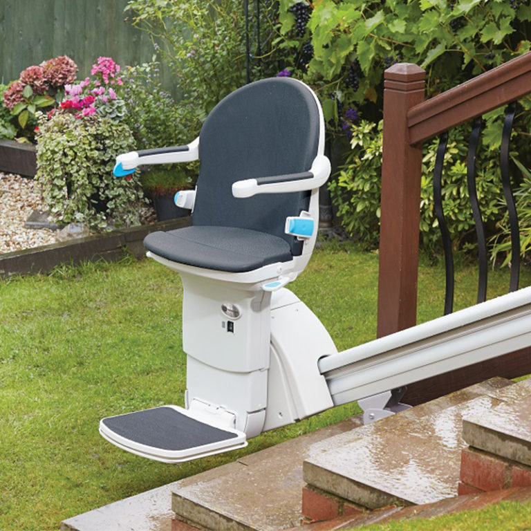 elite outdoor outside exterior stair chair lift are Riverside stairway used staircase stair chairlift