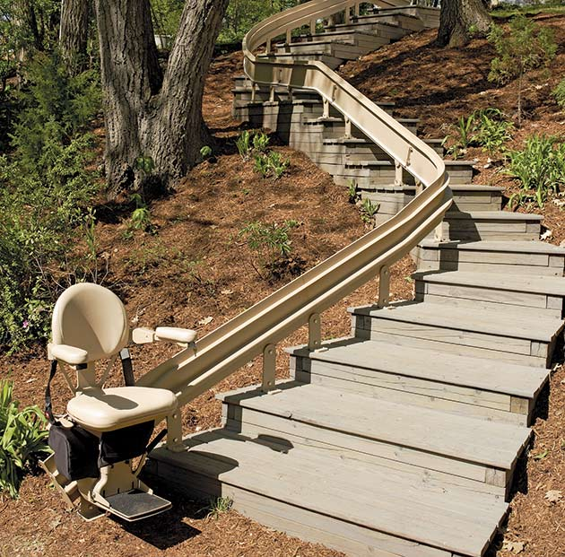 Irvine Bruno stair lift outdoor cre2110E curved stairchair
